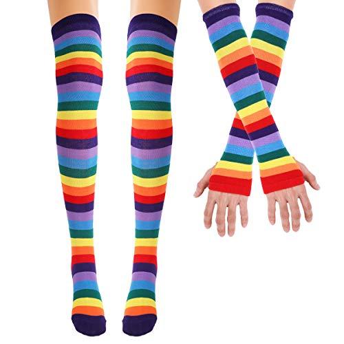 TiaoBug Mujeres Niñas Calcetines de Algodón Rodilla de Arco Iris Yayas por Encima del Muslo Calcetines de Tubo Largo Cosplay/Brazo Calentador Guantes Colorido Calcetines&Guantes