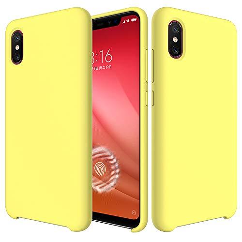 BestST Funda para Xiaomi Mi 8 Pro,Funda Leather Case Xiaomi Mi 8 Pro Carcasa Silicona Suave Colores del Caramelo con Superfino Pelusa Forro,Anti-rasguños Teléfono Caso+Cristal Templado(Amarillo)