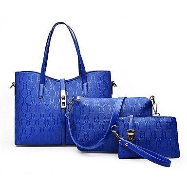 La donna pu formale Evento Casuale/Partito Set borsa nero rubino oro blu,Nero Blue