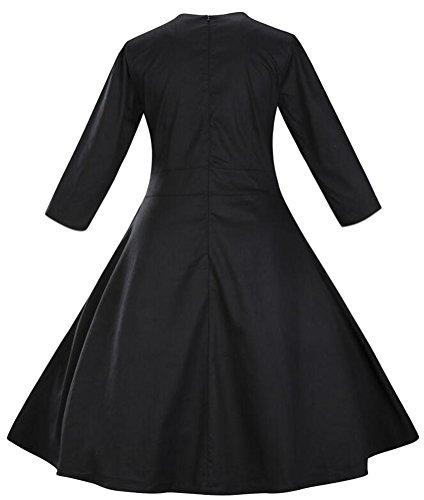 Brinny Femme Manteau Robe R¨¦tro Vintage Ann¨¦es 50 's Style Audrey Hepburn Classique Coton Plusieurs couleurs Nior