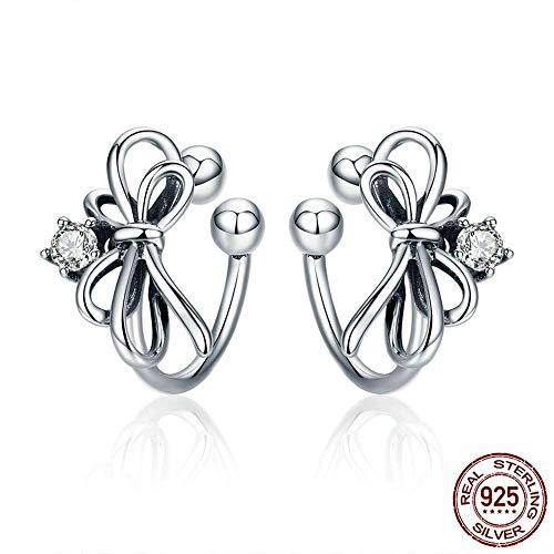 S-PJZ Schmuck Sterling Silber Ohrringe Sweet Clip Bowknot Geeignet für Schmuck Frauen Geschenk, Silber, a - Platin-geld-clip