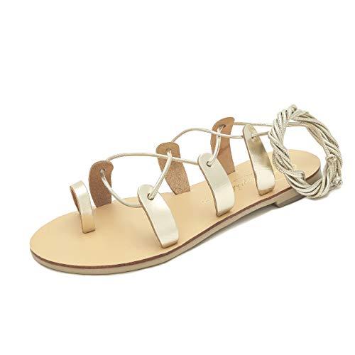 Schmick Helena Damen Sandalen: Sommer Gladiator Ledersandalen flach, Gr. 40, Gold Natural (Frauen Kleid Schuhe Größe 11)