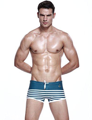 SEOBEAN Maillot de bain Boxer Trunk Short Bref Homme 2487 Vert foncé