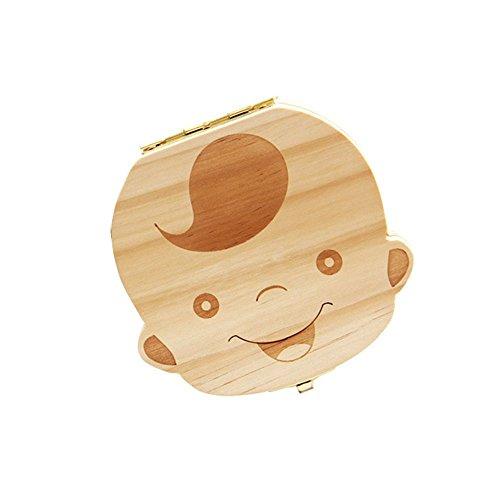 VANKER Cute Boy Girl Image Wooden Personalized Baby Tooth Teech Keepsake Box(Boy)
