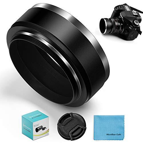 Fotover 55mm Einzigartig Schraube Berg Metall Standard Gegenlichtblende mit Center Pinch Objektivdeckel für Canon Nikon Sony Pentax Olympus Fuji Sumsung Leica Kamera + Reinigungstuch