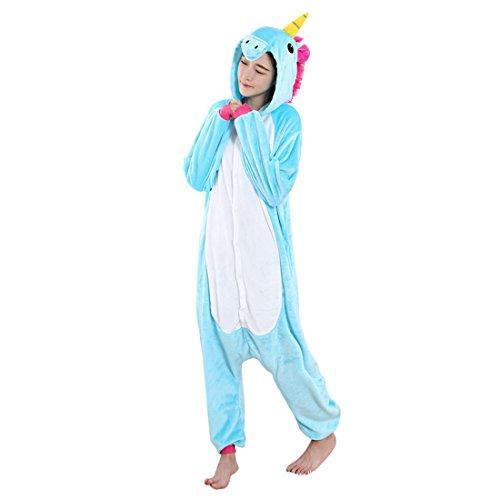 en Tier Schlafanzug Cartoon Pferd Cosplay Flanell Pyjamas Fasching Halloween Kostüm Jumpsuit Overall (Dick Halloween Kostüme)