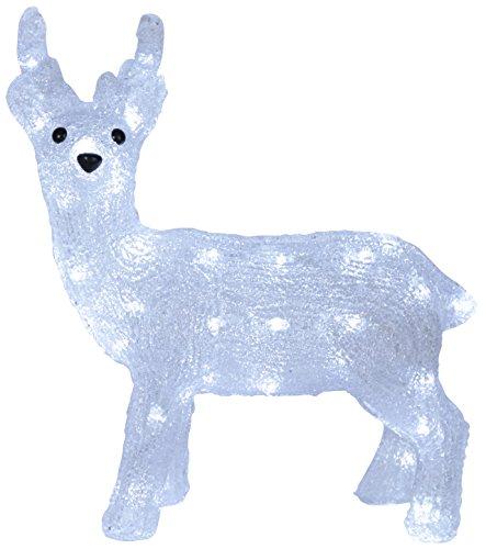 Deko-Geschenke-Shop LED Acryl Rentier Elch 35 cm beleuchtet Weihnachtselch 40 LED Außen