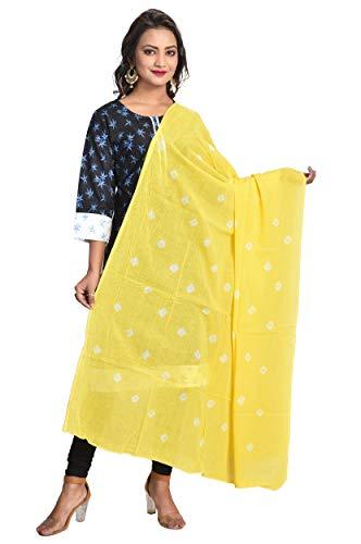 Color Nirvana Women's Cotton Solid Yellow Plain Bandhani Dupatta