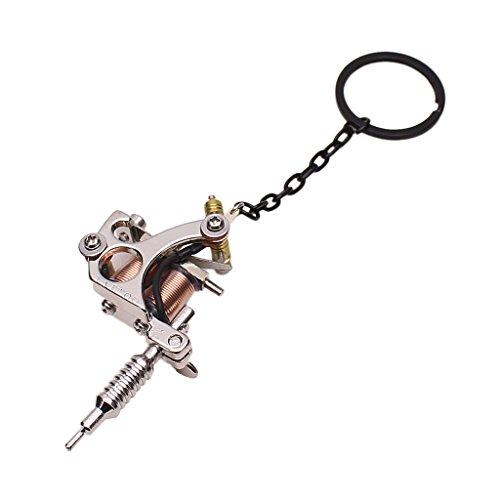 Sharplace Schlüsselanhänger Mini Tattoo Maschine Anhänger Schlüsselringe - Silber 01