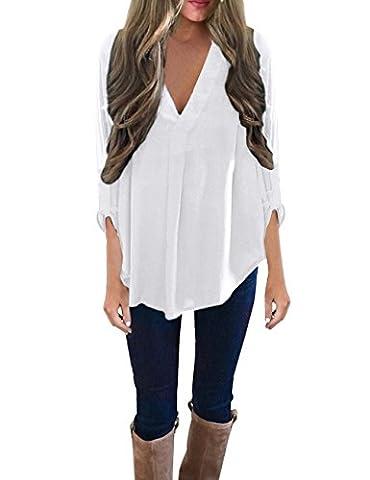 ISASSY Women's Casual Loose V Neck Long Sleeve Blouse T Shirt Top White XL(UK14)/(EU42)