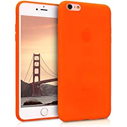kwmobile Coque Apple iPhone 6 Plus / 6S Plus - Coque pour Apple iPhone 6 Plus / 6S Plus - Housse de téléphone en silicone néon orange