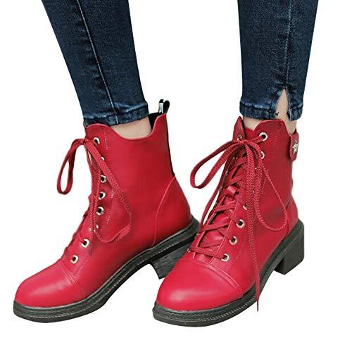 MYMYG Damen Winter Herbst warme Stiefel Lace Up Schuhe Lederschuhe Walkingschuhe Stylische Schnalle Baumwolle Winterschuhe Schuhe Walkingschuhe Freizeitschuhe
