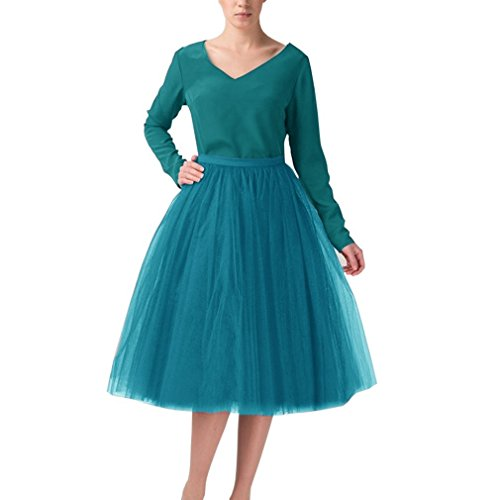 CoutureBridal® 5 Layer Knielanger Rock Elastic Bund Tutu Prinzessin Tüll (EU40-42, Pfau Blau)