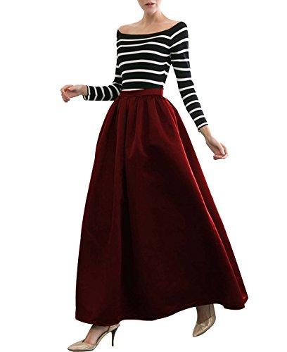 CoutureBridal® Damen Rock A Line Retro hohe Taille Regenschirm Tutu Röcke Weinrot