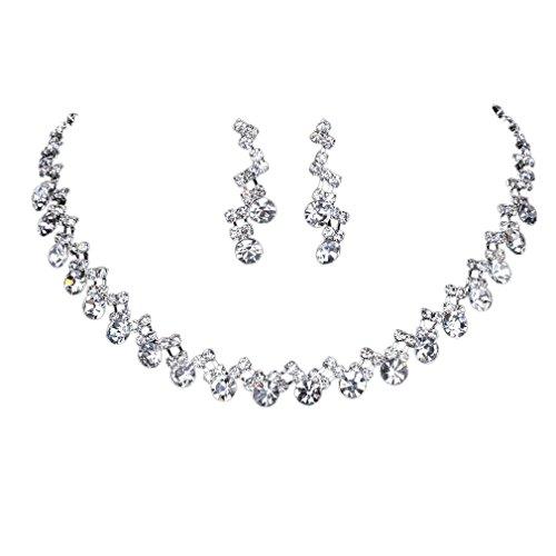 Yazilind glänzender Kristall Versilbert Brautschmuck Sets Halskette und Ohrringe