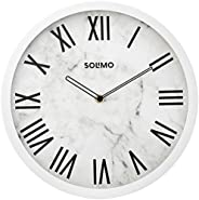 "Amazon Brand - Solimo 12"" Wall Clock - Ethereal Roman (Silent Movement, White F"
