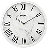 """Amazon Brand - Solimo 12"""" Wall Clock - Ethereal Roman (Silent Movement, White Frame)"""