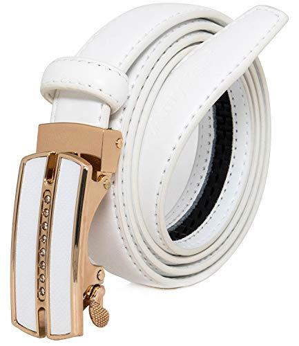 ürtel Dünne Taille Kleid Gürtel Mode Schnalle Gold Metall Mit Strass Gürtel Für Jeans Hosen, Breit 23mm, Ak015,Weiß, 110cm ()