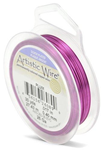 Artistic Wire Beadalon Fil de cuivre Calibre 26 27,43 m Câble plaqué argent, Prune