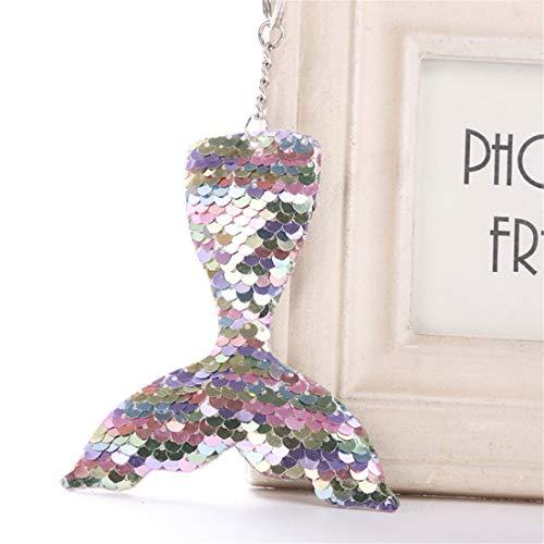 Madlst 1 x magischer Wende-Pailletten-Schlüsselanhänger mit Meerjungfrauenschwanz, Geburtstagsparty, Weihnachtsdekoration für Kinder und Mädchen