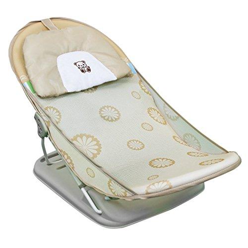 Monsieur Bébé ® zusammenfaltbarer Badewannensitz, baby badesitz mit verstellbarer Rückenlehne – beige – EG-Norm