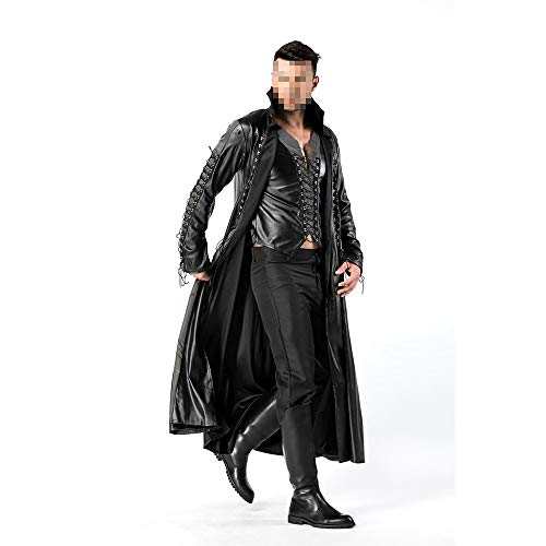 YyiHan Halloween Kostüm, Outfit Für Halloween Fasching Karneval Halloween Cosplay Horror Kostüm,Halloween Herren Vampir Kostüm Ledermantel Nachtkleid (Professionelle Burlesque Kostüm)