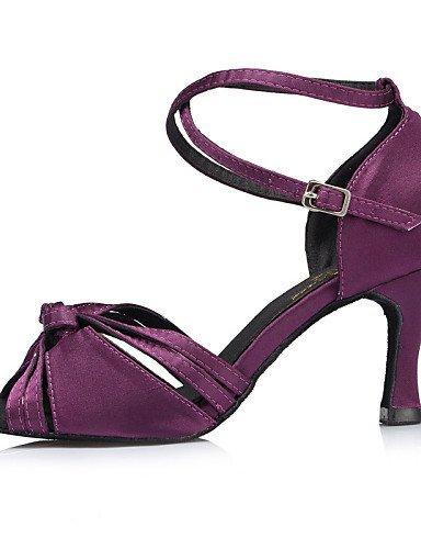 ShangYi Chaussures de danse ( Vert / Violet ) - Personnalisables - Talon Personnalisé - Satin -Latine / Jazz / Salsa / Samba / Chaussures de Green