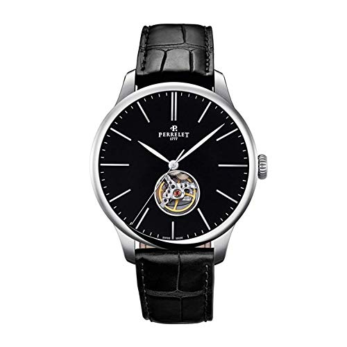 Perrelet Men's 35mm Leather Band Steel Case Automatic Black Dial Watch A1087-5