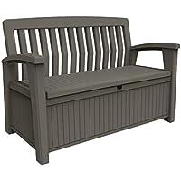 Keter -  Banco arcón exterior Patio Bench, Capacidad 265 litros, Color topo
