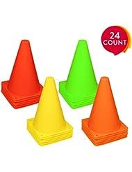 REEHUT Set Coni Sport da 24 Pezzi, Coni Allenamento con Materiale Ambientale, Non Deforma, Anti-Urto per attività, Gioco, Calcio, Pallavolo, ECC. - 4 Colori