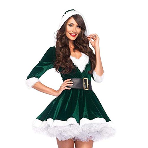 en Weihnachtskostüm für Erwachsene Red Velvet Fur Kleider Hooded Sexy Female Santa Claus Kostüm,Green,M ()