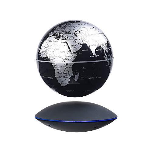 Monsterzeug Magischer Globus mit Schwebefunktion, Schwebender Planet, Frei schwebender Globus, Elektromagnetische Basis mit LEDs, Weltkugel mit Magnet-Schwebesystem, Silber, Schwarz