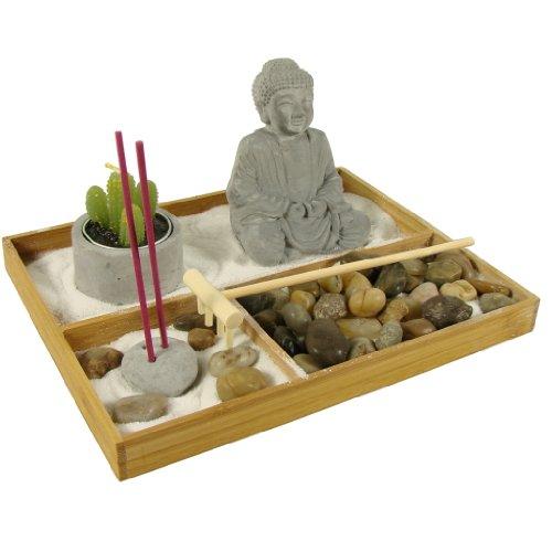 Zen Garten inkl. Buddha Statue Kerzen und viel Zubehör Feng Shui Buddhismus Deko