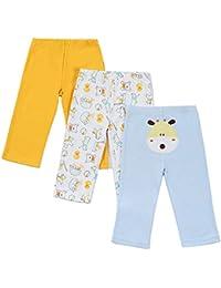 Jiajia suave algodón recién nacido bebé pantalones leggings 3unidades