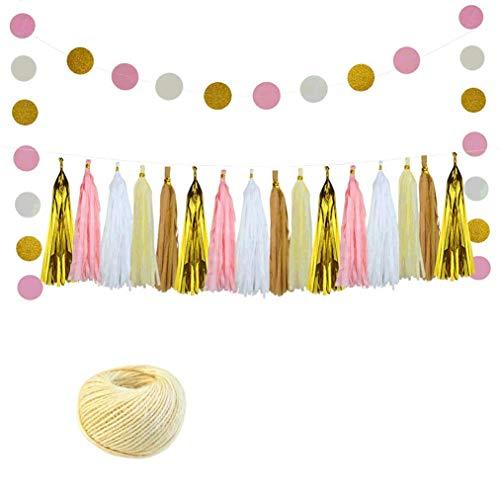 Girlande hängen Seidenpapier Banner für Party, Hochzeit, Baby-Dusche-Dekorationen mit Polka Dot Paper Garland und Baumwollseil ()