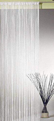 AeMBe – Fadenvorhang Fadengardine Türvorhang – 150cm X 250cm – Perlweiß – Höchste Qualität