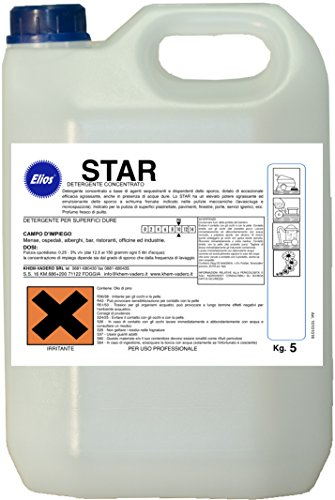 Elios - star lavapavimenti detergente sgrassante bassa schiuma per lavasciuga profumato kg.10 - tanica kg.10