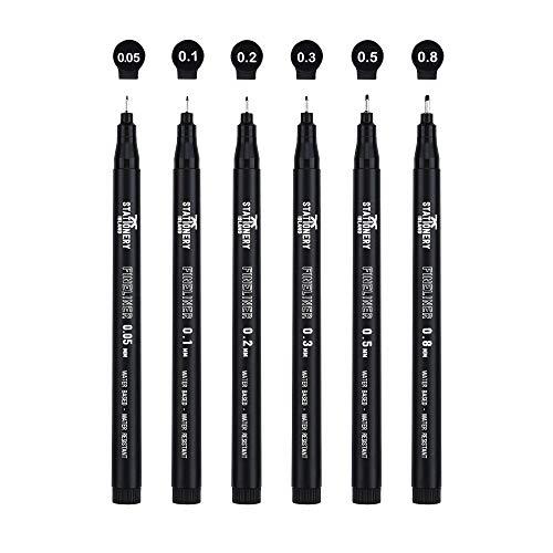 Stationery Island Set di penne Fineliner - Per Schizzi, Disegno tecnico e Bullet Journal - Penne da Disegno con Punte Assortite, Confezione da 6