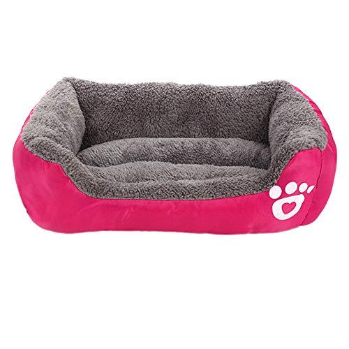 Noa54fran Ultraweiches Hundebett, Deluxe waschbare Hundebettwäsche, feuchtigkeitsbeständiges Hundekatzensofa, warmes atmungsaktives Welpenkissen, Sicherheit und Guten Schlaf Rose Red XL - Spa-square-kissen