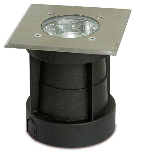Trango IP65 Außen Bodeneinbaustrahler, Bodeneinbauleuchte, Bodenlampe, Wegbeleuchtung TG3084S aus Edelstahl/Eckig rostfrei bis zu 800kg belastbar m. GU10 Fassung - 230V geeignet für LED Leuchtmittel