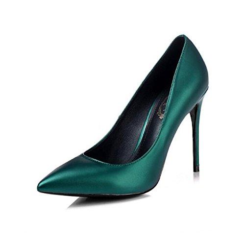 YIXINY Escarpin M-003 Chaussures Femme PU+Caoutchouc Pointu La Bouche Peu Profonde Amende Talon Mariage Occupation Chargé 8.5/10cm Talons Hauts Vert