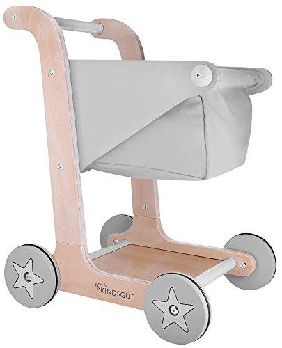 Kindsgut Caddie | Chariot de Courses en Bois pour Enfant, Design Moderne scandinave | à partir d'1 an, Gris
