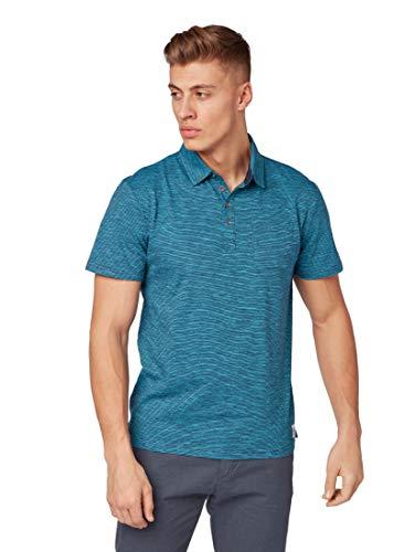 TOM TAILOR Casual Herren Gestreiftes Poloshirt, Blau (Aqua Blue Stripe 17527), Large (Herstellergröße: L) -