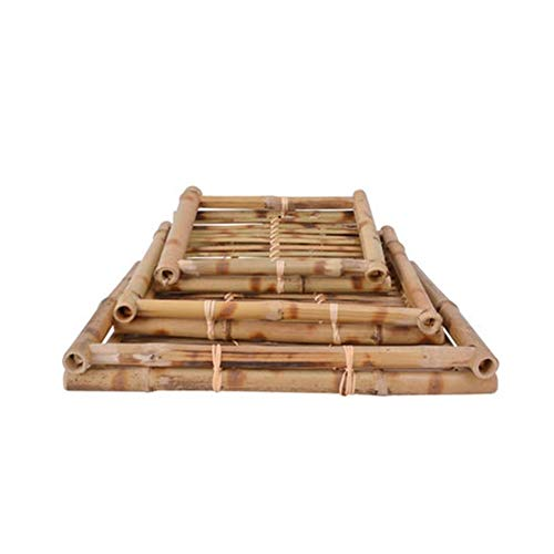 GUYUEXUAN Massivholz Bambus Tablett Handgestricktes Bambus Rechteckiges Gebäck Kaltes Nudelgericht Cuisine Besteck Tablett, Obstbrot Snack Box (Color : Natural, Size : 35 * 26 * 4cm)