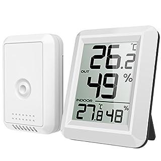 AMIR Hygrometer Thermometer, Innen Außen Thermometer Hygrometer Digital Innen Außentemperatur und Luftfeuchtigkeit Monitor mit Funk-Außensensor und Großem LCD Display, ℃/℉ Schalter