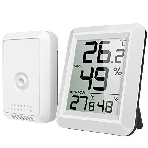 AMIR Thermometer Innen Außen, Hygrometer Thermometer mit Außensensor, Digital Thermo Hygrometer Funk Thermometer mit Großem LCD Display, ℃/℉ Schalter, Ideal für Büro, Haus, Zimmer, Weiß