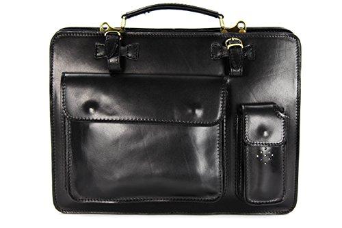Belli® Design-Bag Voll Leder Echt Leder Businesstasche schwarz DIN A4 geeignet 39x29x11 cm (B x H x T)