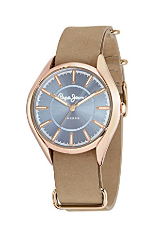 Pepe Jeans Cara Women's Quartz Watch with Blue Dial Analogue Display and Blue Leather Strap R2351103504