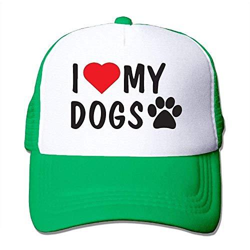 Hoswee Unisex Kappe/Baseballkappe, I Love My Dogs Men Mesh Back Trucker Cap Air Mesh Polyester Cap -