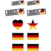 EAST-WEST Trading GmbH Deutschland Tattoo Sticker für die Fußball-WM 2018, Tattoo Aufkleber, Stern, Herz, Made in Germany, Olympia und WM Fanartikel 2018 - Deutschland Fanartikel
